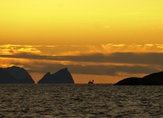 Great lights in Vestfjord, here is a fishing boat heading towards Narvik. Photo: Stefan Linnerhag.