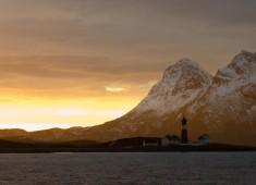 Tranøy lighthouse seen from Vestfjord. Photo: Stefan Linnerhag