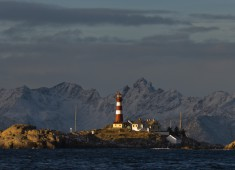 Skrova lighthouse with Lofoten island